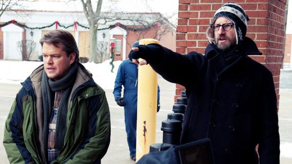 Стивен Содерберг и Мэтт Дэймон на съёмках «Заражения»